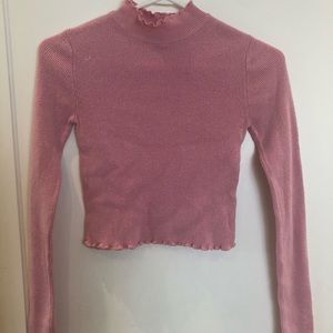 Bright Pink Cropped Turtle neck